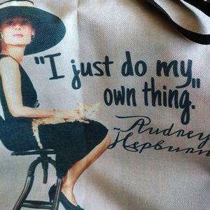 Handbags - Reusable canvas tote bag Audrey Hepburn